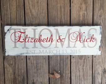 Personalized family sign. Wedding gift. Established Plaque.