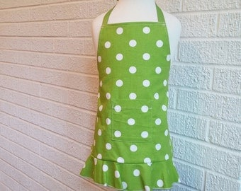 Toddler Green Polka Dot Apron with Pocket - FREE Shipping, American Made