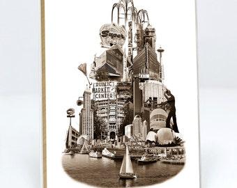 SET of Tower of Seattle Notecard  - Seattle, Washington - sepia - 6 folded Greeting Cards