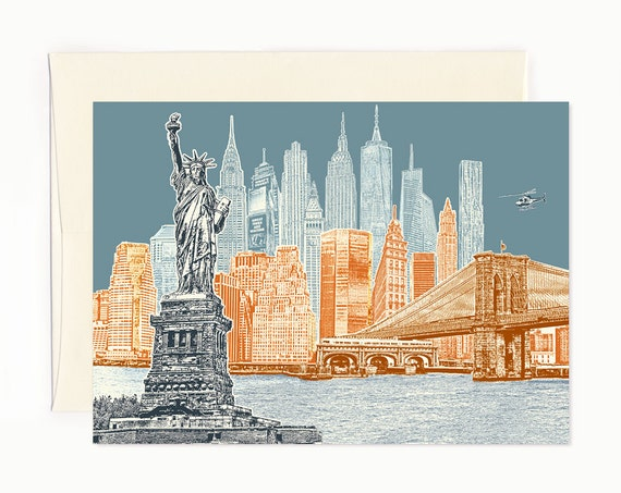 New York City Skyline Notecard - full color - New York - folded Greeting Card -- ON SALE!!