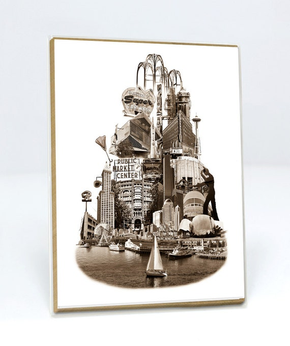 ON SALE!! -- SET of Tower of Seattle Notecard  - Seattle, Washington - sepia - 6 folded Greeting Cards