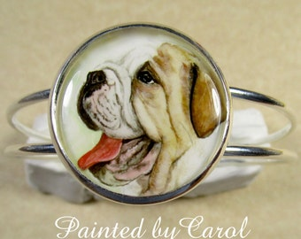 English Bulldog Bracelet  -  Happy English Bulldog, Dog Cuff Bracelet