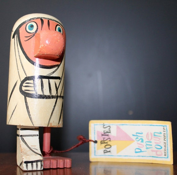 Popsies Push Me Down Pride Creations Kitsch Figurine Get Well Soon Message Wooden Doll Handmade Wooden Toys Collectibles Gifts Home Decor