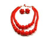 Red necklace lucite beaded necklace Double strand with clip on earrings Japan marked warm red 1950s Christmas jewelry  Fun everyday jewelry