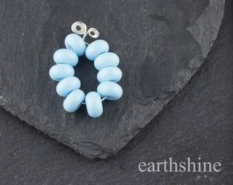 Set 10 handmade glass lampwork spacer beads: Effetre/Moretti Light Sky Blue
