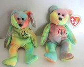 Peace the Bear Ty Beanie Baby  - Original Vintage Toy