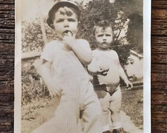 Original Antique Photograph Billy & Bobby 1946