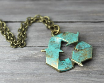 Recycle Necklace, Earth Day, Hipster Necklace, Teal Recycle Necklace, Recycle Charm Necklace, Bronze Recycle Necklace