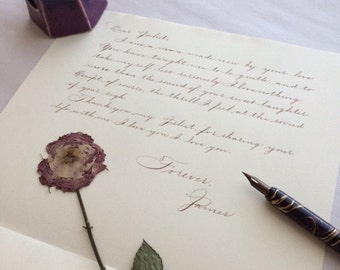 Hand Written Calligraphy Wedding Day or Anniversary Love Letter
