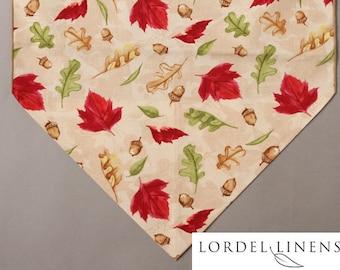 "Fall Leaves Table Runner, 72"" Table Runner, Leaves and Acorns, Red, Green and Tan, Modern Table Runner, Home Decor"
