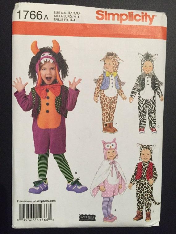 Simplicity Sewing Pattern 1766 Children's Zebra, Giraffe, Owl, Monster and Leopard Costume Size 1/2-4