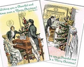 Set of 6 - Jane Austen's Pride and Prejudice Christmas Cards with Envelopes