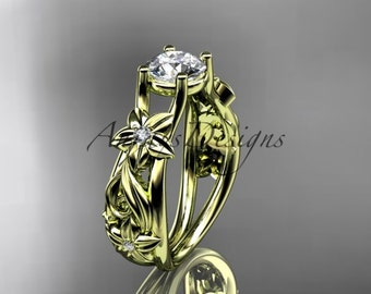 14kt yellow gold diamond floral wedding ring, engagement ring ADLR216