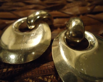 Vintage Large Sterling Silver Boho Styled Earrings (clips) Circa 1990, Stamped Mexico 925, Vintage
