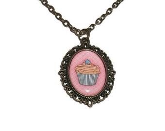 Cupcake Cameo Necklace, Bronze, Kawaii Pink Cake Sweet, Dessert Jewelry, Cute