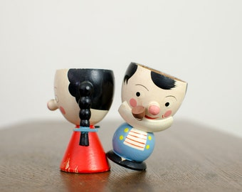 Vintage Italian Wooden Egg Cup Holders Boy and Girl - Mid Century