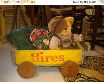 SUMMER SALE One Great Vinatge Hires Soda Crate Wagon, Eclectic, Collectable