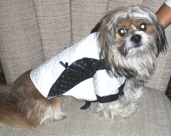 Dog Coat, Quilted elegance Dog Coat, Black And White Dog Coat,