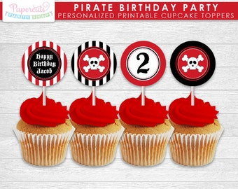 Pirate Theme Birthday Party Cupcake Toppers | Red & Black | Personalized | Printable DIY Digital File