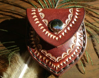 tooled leather coin pouch / coin purse / guitar pick holder