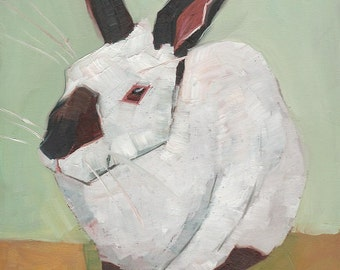 Black and White Rabbit Original Oil Painting