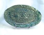 Blue and Green Handmade Ceramic Plate