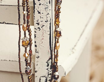 Brown Beaded Necklace, Triple Strand Beaded Necklace, Long Necklace, Beaded Necklace