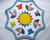 PDF PATTERN: Rainbows and Wellies Penny Rug sewing tutorial - Irish Summer felt DIY Decoration - Holiday accessory