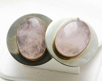 Vintage 925 Sterling Silver pink Rose Quartz clip on earrings Modern oval large Estate