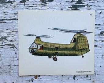 Vintage helicopter print