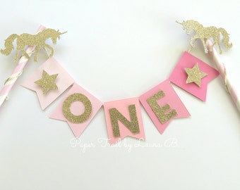 Unicorn Cake Topper in Pink Ombre with Gold Glitter Star. First Birthday Cake Topper, Smash Cake Topper, Photo Prop
