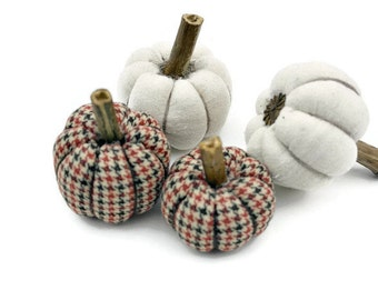 Fall and Halloween Decor, Fabric Pumpkins, Thanksgiving Home Decor, Fall Decor, Country Home Accent  - set of 4