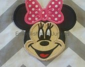 Small girl Mouse face. Iron embroidered fabric applique patch embellishment-ready to ship