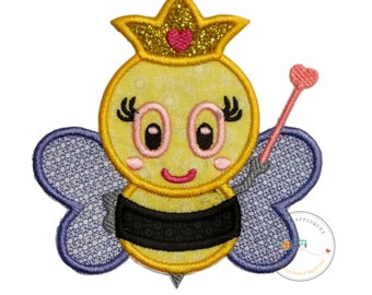 Queen bee iron on applique, Bumble bee queen with glitter crown iron on patch, black and yellow girl bumble bee embellishment