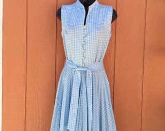 1970s Blue and White Gingham Dress