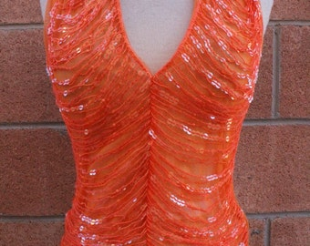 Size small orange sequence halter top womens gypsy style boho summer girl