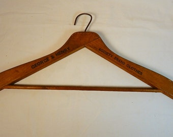 Society Brand Clothes Antique Wooden Clothes Hanger George and Henry Advertising Alfred Decker & Cohn Chicago