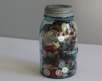 Vintage Atlas jar filled with buttons