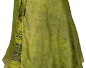 Mid-Calf Length Vintage Silk Sari Magic Wrap Skirt Reversible Dress Multi Layered India DU14