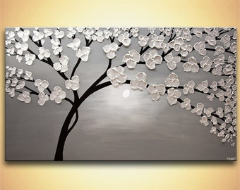 "modern blooming tree painting original SILVER Acrylic Painting Heavy Palette Knife Textured by Osnat  53""x30"""