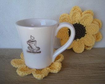Pretty Crocheted Sunflower Coaster Set of 2