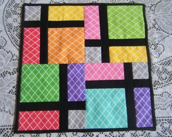 """Modern Quilted Table Topper/Trivet Multi-Colored 16""""x16"""""""