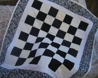 """Black and White Baby Quilt - 41""""x 45"""" Made to Order - HANDMADE BY ME"""