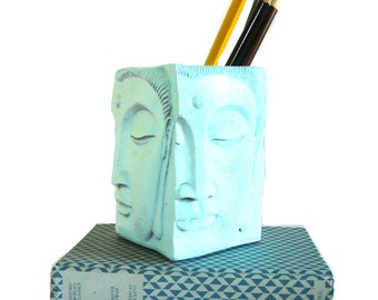 pen holders, buddha decor, modern pencil cup, home office, desk accessories, desk organizer, makeup brush holder