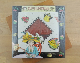 Vintage Mary Engelbreit Rubber Stamp Set | CUP OF KINDNESS | 9 Rubber Stamps Sealed in Box | Crafting Stamps