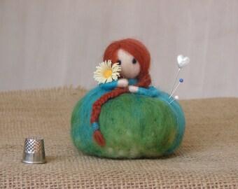 Pincushion. Felted Doll Pin cushion. Pin Keeper. Nursery Doll Decor, Desk Home Decor.