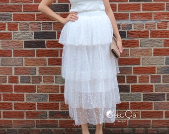 Crystal - Bridal Tulle Skirt, Maxi White Tulle Skirt, Leveled Layered Skirt, Layered Below Knee Princess Tutu, Polka Dot Tulle Skirt