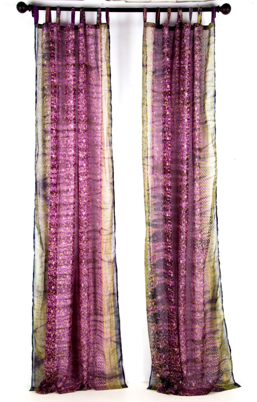 108 Long Violet Purple And Teal Sari Window Curtain