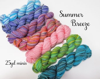 Summer Breeze, 7 - 25  Sock yarn Mini Skeins, 25 yds each, 175 yds total