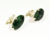Spinach Jade Cufflinks Special Gothic Style Genuine Gemstone Sterling Silver 925